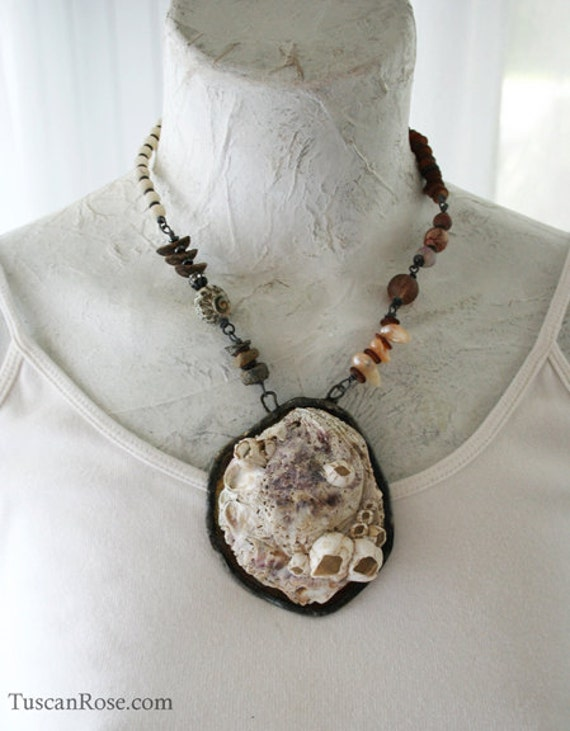 ON SALE - Shipwreck - Beach Shell Statement Necklace - MERMAID Gypsy