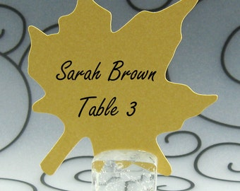 Maple Leaf Guest Cards Escort Cards Place Cards Blank - Pack of 12 - Choose Your Color in Plain, Pearl Shimmer, and Glitter Paper
