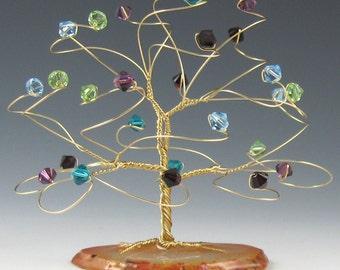 Small Tree Art Sculpture Custom Made in Swarovski Crystal Elements Birthday Christmas Gift Idea