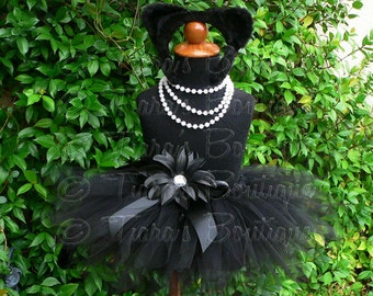 "Midnight - Black Cat Tutu Costume Set - Sewn 8"" pixie tutu, kitty ears headband, removable tail - newborn up to 12 months"