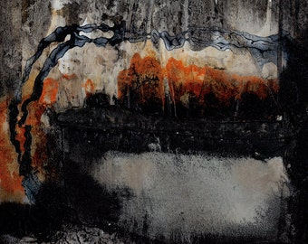 "Black Orange Abstract Mixed Media painting, Textured Art, Original, Contemporary, Modern, ""Encounters 10""  by Kathy Morton Stanion EBSQ"