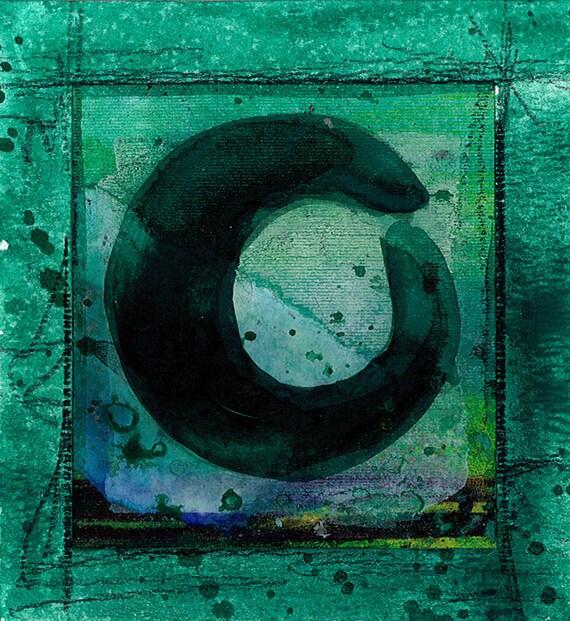 ZEN CIRCLE 20 - Original tiny Enso watercolor painting by Kathy Morton Stanion ... EBSQ