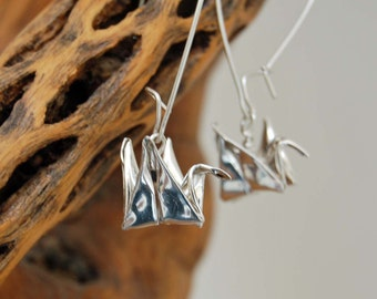 Silver Origami Crane Fine Silver Metal Clay Artisan Made Dangle Earrings