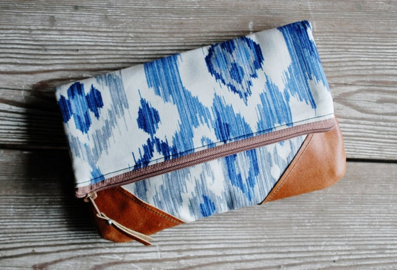 Blue Ikat Leather Fold-over Clutch