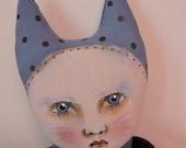 Cat girl art doll- Celeste- ugly cute- weird- contemporary folk art- ooak art doll