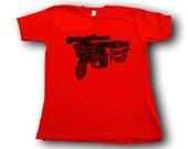 Shoot First  Woodblock Printed Tee Shirt