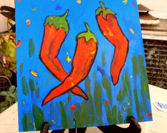 Dancing Chili Peppers Acrylic Painting