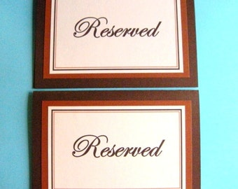 Two 5x7 Tent Folded Printed Reserved Signs in Shimmery Brown, Burnt Orange and Cream - Perfect for Fall, Autumn Wedding - Ready to Ship