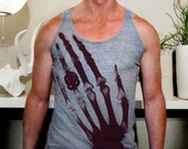 Mens Triblend Tank Top feat. Ringen print in Deep Red