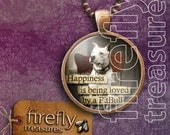 Happiness is Being Loved by a PitBull - copper & glass pendant with a dog