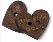 150 pcs Personalized button custom heart shaped wooden button with your own shop name