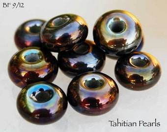 25 Tahitian Pearls lampwork beads ,  metallic golden brown pink colors, glass bead spacers by Beadfairy Lampwork, SRA