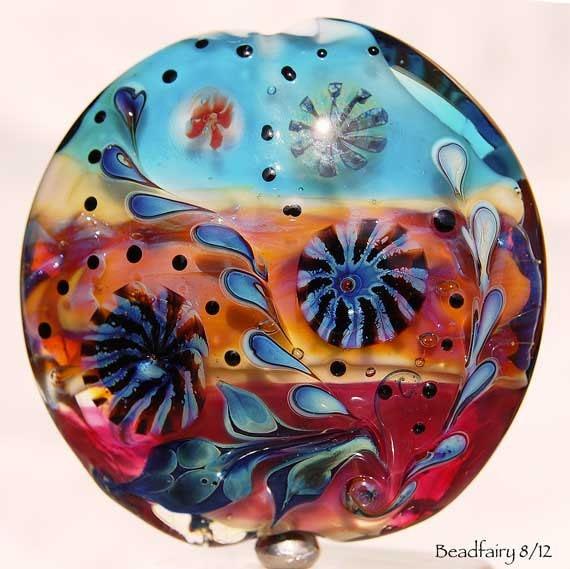Hawaii , large Lentil Focal bead , lampwork bead with silver glass murrini ,  glass beads by Beadfairy Lampwork
