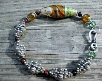 Bali sterling silver bracelet, lampwork focal, mint julep colors