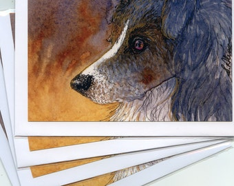 4 x Border Collie dog greeting cards - In the firelight