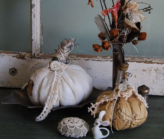 The Cobbler and The Tailor - Vintage Tattered Pair of Shabby Chic Fabric and Paper Pumpkins