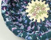 Ocean Blue with Lavender Floral Print Rag Bowl