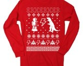 Mens Geeky Ugly Christmas Sweater TShirt Long Sleeve T Shirt (Red)