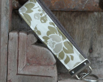 READY TO SHIP-Beautiful Key Fob/Keychain/Wristlet-Putty Flowers on Gray