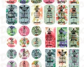 Buy 1 Get 1 Free Vintage Dress Form Shabby Flowers Chic Scrabbles Bottle Caps Dog Tags Dominoes Variety Collage Sheet