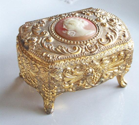 Vintage Cameo Trinket Box Vintage Jewelry Box Vintage Box