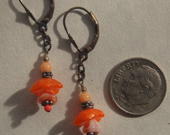 Semi precious coral beads, Vintage tangerine Czech glass flower beads and sterling silver Bali beaded pierced earrings