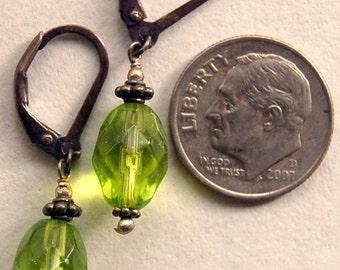 Lime green Czech glass beads and Bali sterling silver pierced earrings