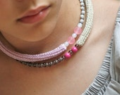 Crochet Choker Necklace in Lavender, Pink and Beige