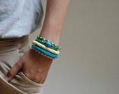 Wrap Crochet Cuff Bracelet in Light Lemon Yellow and Dark Turquoise Blue