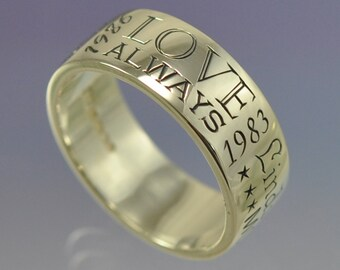 Personalised Memory Ring. 7mm wide. Your special things...