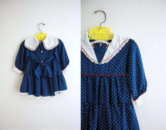 Vintage Baby Girl Dress . Polka Dots . 1970s 70s . 9-12 Months