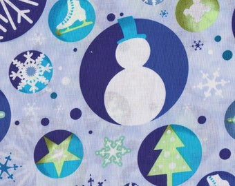 Blue Blank Snowman And Snowflake Cotton Fabric, For You To Decorate, Or Name.