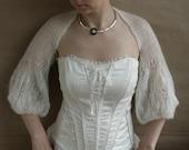 White Shrug-Bolero-Capelet with longer sleeves---hand knitted, size M