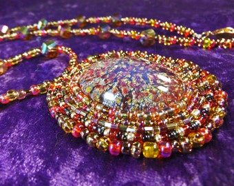 Amazing Multicolored Glass Cabachon Bead Embroidered Necklace OOAK