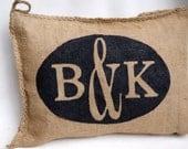 Burlap Charley Pillow - Couple Monogram - Wedding Gift - Anniversary - Initials -Custom