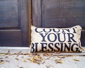 Count Your Blessings Quincy Burlap Pillow