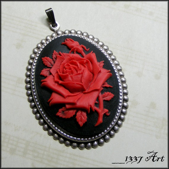 Red Rose Cameo Pendant, Gothic Jewelry, Black and Red Rose Cameo, Flower Cameo Pendant, Valentine's Day Gift Idea