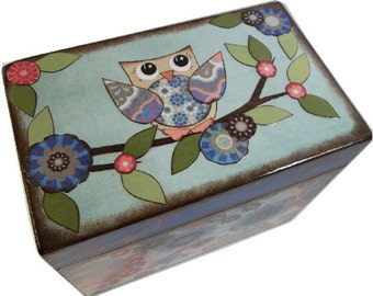 Address File Box, Recipe Box, Index Card Box, Decoupage Wooden Box, Holds 4x6 Cards, Home Office Decor, Organizer,  MADE TO ORDER