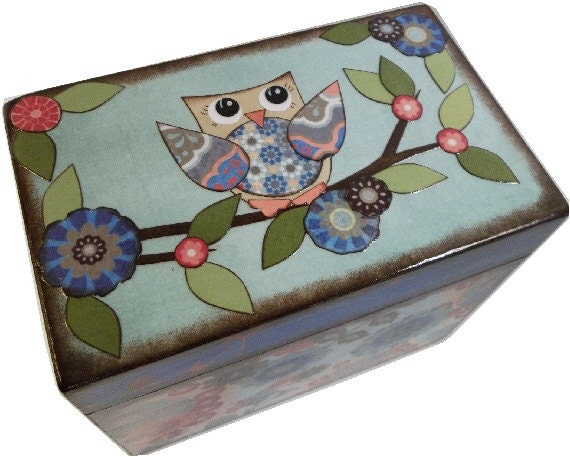 Decorative Recipe Boxes Glamorous Recipe Box Decoupage Wooden Box Holds 4X6 Cards Decorative Review