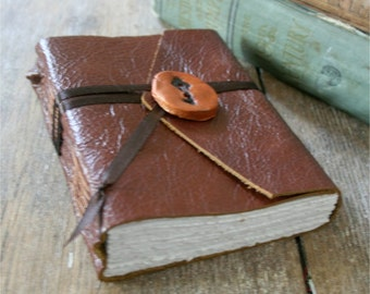 "Leather Journal . Pearl Buck quote: ""Inside myself is a place where I live alone..."" handbound handmade (320pgs)"