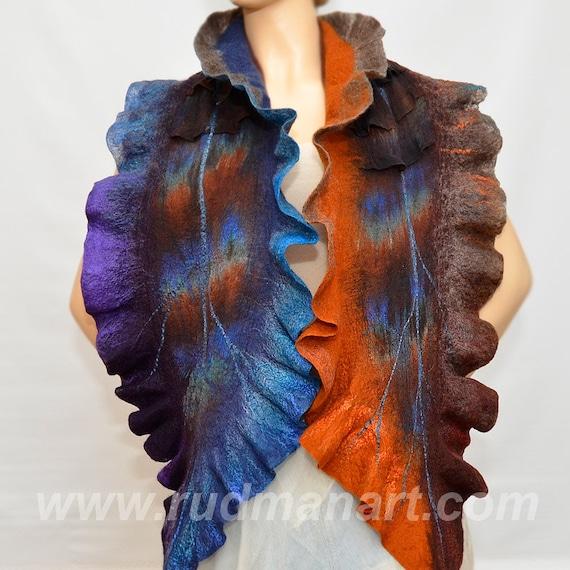 Felted Scarf Wool Silk Art hand dyed Blue Purple Rust Brown Earthy