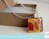 Fall Leaves Doodle Glass Tile Pendant Necklace - 40 PERCENT OFF