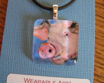 Glass Tile Art Pendant Pink Pig Animal gift packaged