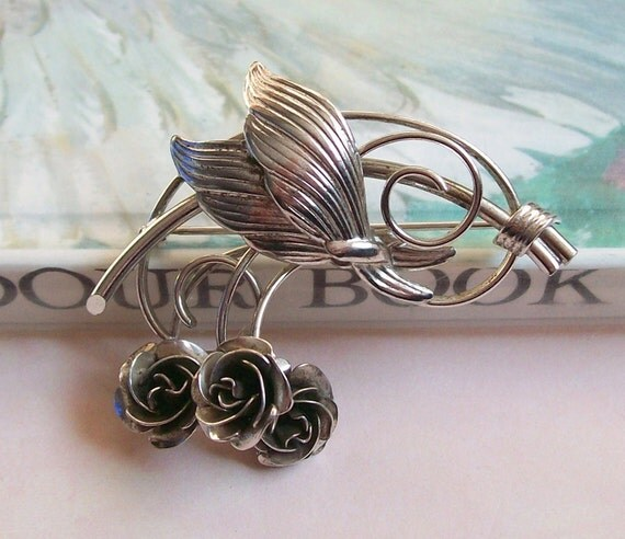 RESERVED for buyer named CLICKETY CLACK!! Vintage Sterling Silver Roses Brooch Pin, Flower Brooch Pin, Signed Bond Boyd