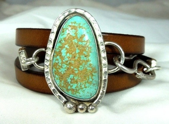 Turquoise stone   cuff and  silver wrap bracelet with leather