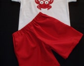 Personalized Crab Short Set ~ Toddler Boy Embroidered Crab Shirt - Handmade Red Shorts (with small polka dots) - Elastic waist boy shorts