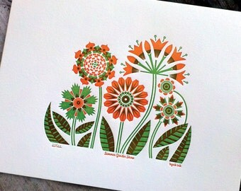 Summer Garden Print - orange/green