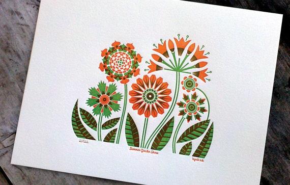 Summer Garden Print - orange/green