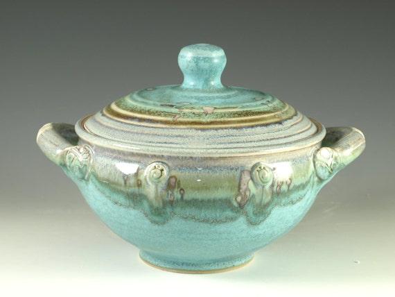Casseroles (One Quart) in turquoise glaze, Great wedding gift , wheel thrown stoneware pottery