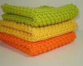 Handknitted Dishcloths - Tangerine Lemon Lime - Set of 3